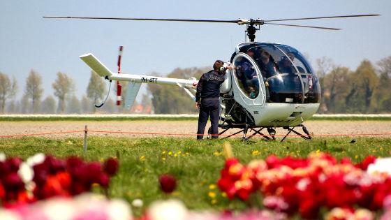 полет на вертолете над полями тюльпанов в Нидерландах
